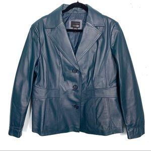VINTAGE Leather Blazer   Sea Green / Teal Blue